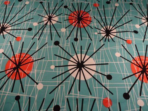 Mid century fabric ebay for Retro fabric