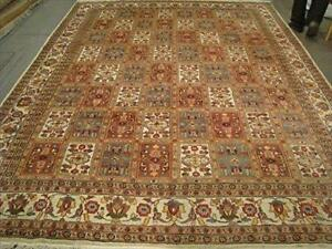 Bakhtiari Pestal Flower All Over Excellent Designed Area Rug Hand Knotted Silk Wool Carpet (12.1 x 9.1)'