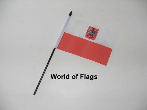 """POLAND EAGLE SMALL HAND WAVING FLAG 6"""" x 4"""" Polish State Table Desk Display"""
