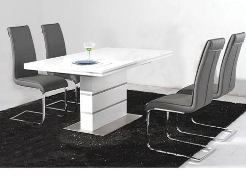 Black Gloss Dining Table And Chairs Ebay