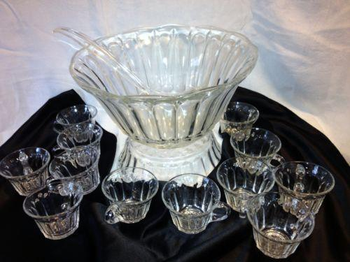 vintage anchor hocking punch bowl set ebay. Black Bedroom Furniture Sets. Home Design Ideas