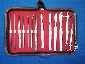 Präparierset, Instrumente, Präparierbesteck, Etui 14teilig