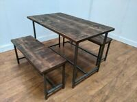 New Bespoke Hand Crafted 4 Seat Dining Table Bench Set Bar Bistro Pub Restaurant
