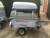 Ultimate Camping Trailer,Box Trailer, bike rack, factory made ERDE 4x3 with high roof and roof bars