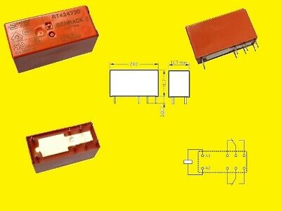 mm THT  #708779 29x12.7x15.7 RT424005 TE Schrack Power Relay 5VDC 8A DPDT