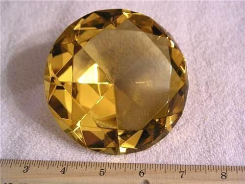 Citrine yellow 4 inch 100 mm classic diamond cut decorator display crystal