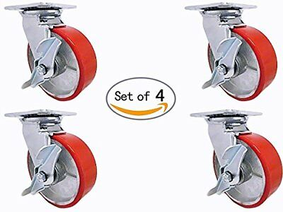 Casterhq - 8 Inch X 2 Inch Poly. Wheel On Steel Hub Swivel Caster Commercial Use