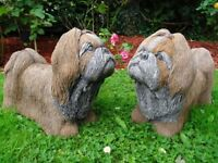 2 Stone Shih Tzu Dog Garden Statues