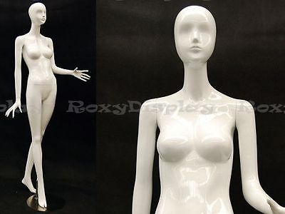 Female Fiberglass Mannequin High Glossy White Abstract Fashion Style Mz-ivy3