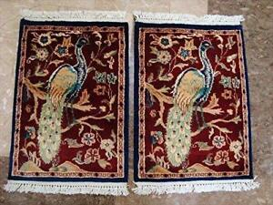 Awesome Peacock Tree Life Birds Rectangle Area Rug Wool Silk Hand Knotted Carpet pair (2 x 1.6)'