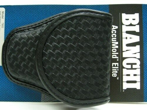 Bianchi 23101 Black 7900 Basketweave Accumold Elite Covered Handcuff Cuff Case