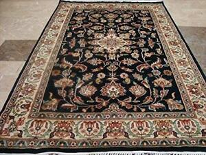 Wow Exclusive Exotic Navy Dark Blue Floral Medallion Hand Knotted Rug Wool Silk Carpet (6 X 4)'