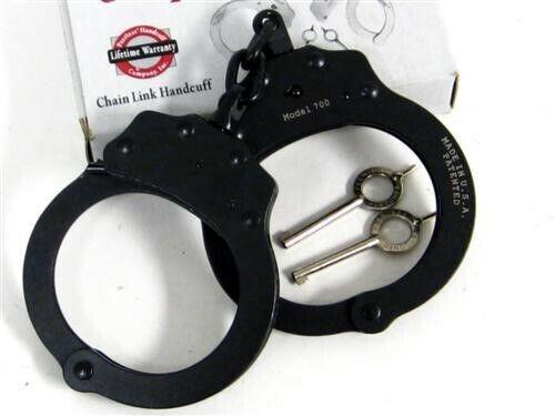 Peerless 700 Black Oxide Chain Police Handcuffs + Keys