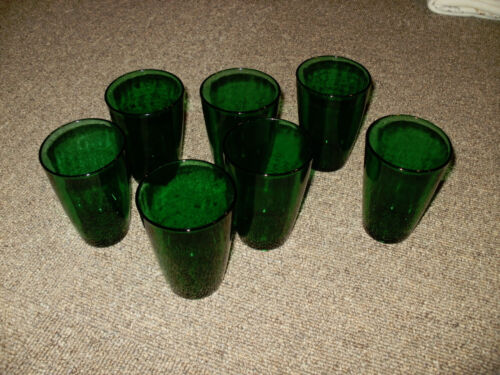 "Set of 7 Anchor Hocking Forest Green Tapered Tumbler 4-1/4"" Pattern # 16"