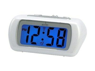 acctim white auric alarm clock blue lcd battery operated digital lighted 692757903637 ebay. Black Bedroom Furniture Sets. Home Design Ideas