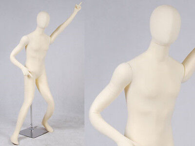 Male Full Body Poseable Mannequin White Jersey Covered Body Form M01softx-jf