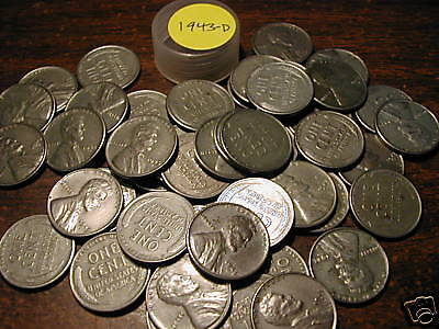 1943-D LINCOLN STEEL WHEAT CENT ROLL (50 COINS) Price greatly reduced!!!!