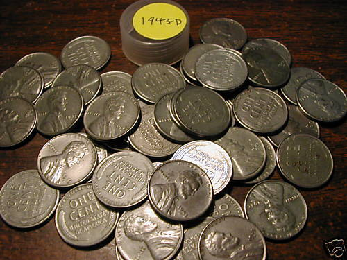 1943-D LINCOLN STEEL WHEAT CENT ROLL (50 COINS)