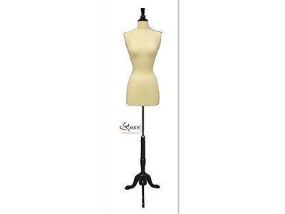 Female Mannequin Dress Form+Black Wood Base Size 2-4 JF-FWPW-4 + BS-02BKX
