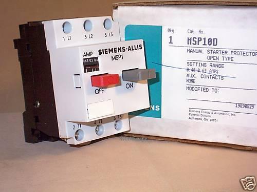 SIEMENS MSP10D Motor Starter Protector NIB