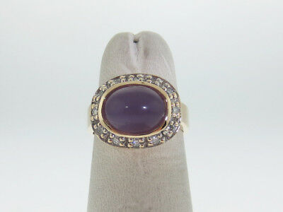 Chalcedony Gold Ring - Purple Chalcedony Cabochon Diamonds Solid 14K Yellow Gold Ring FREE Sizing