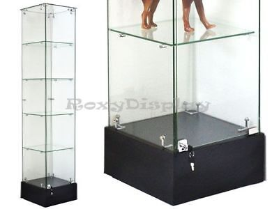 Glass Square Display Tower With Black Base Store Fixture Knocked Down Sc-gs20b
