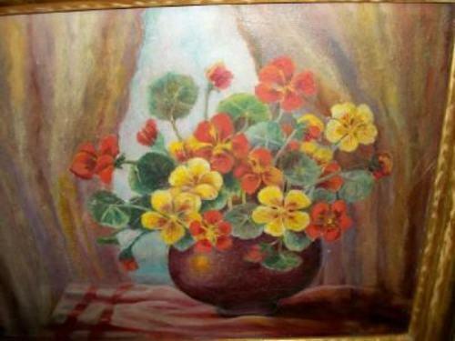 ANTIQUE NASTURTIUMS OIL PAINTING VICTORIAN FLOWERS GILT WOOD FRAME 1890