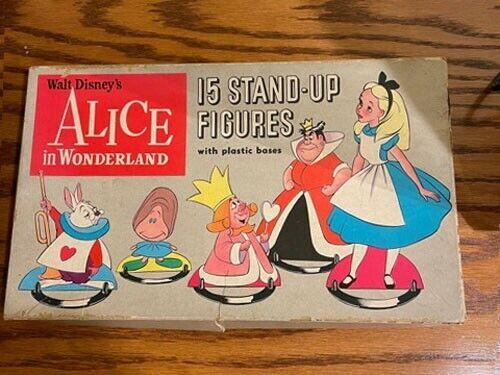 VTG Disney 1951 ALICE IN WONDERLAND STAND-UP FIGURES Cardboard Bases Background