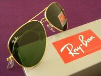 PAYPAL ACCEPTED,GOLD FRAME GREEN LENS RAY BAN AVIATORS,BRAND NEW IN BOX.