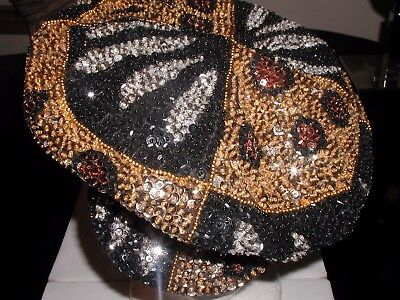 BRANDO NEWSBOY CAP HAT LEOPARD ANIMAL ZEBRA PRINT GOLD BRONZE BLACK SEQUINS NEW! Animal Print Newsboy Hat