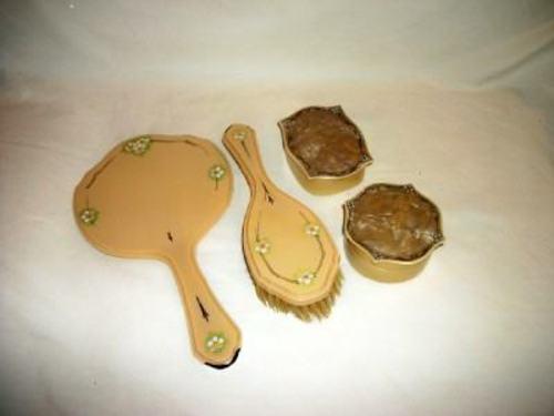 Antique Ivorine Celluloid HP Vanity Set Mirror Brush Jars Chic Cottage Shabby