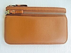 Fossil Brand Leather Wallet Clutch in Saddle (Tan), 12 Card Slots! NWT SWL1079
