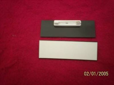 50 Whiteblack Blank Name Badges Tags 1x3 With Pins