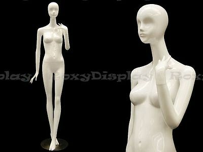 Female Fiberglass Mannequin High Glossy White Abstract Fashion Style Mz-ivy4