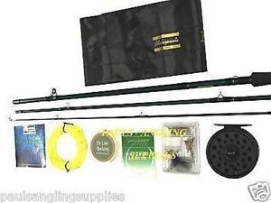 Fly fishing starter kit tackle inc line reel rod flys ebay for Fly fishing starter kit