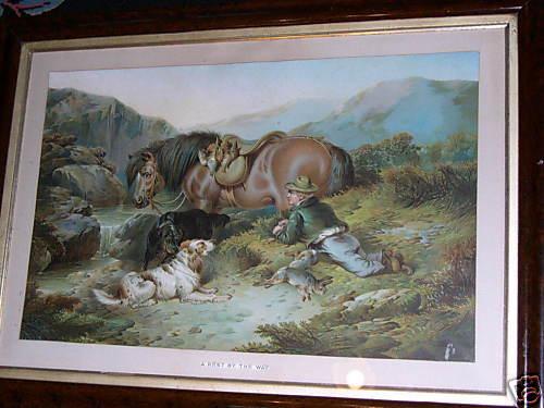 LARGE ANTIQUE ENGLISH GORDON SETTER GUNDOG DOG PICTURE