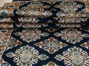 Exclusive Blue Jaldar Mahal Brick Hand Knotted Soft Hall Way Runner Rug 13.1x2.6 FB-1546