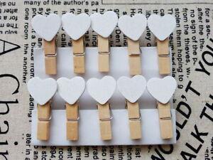 50pcs Mini Wooden White Love Heart Pegs Photo Paper Clips Wedding Decor Craft