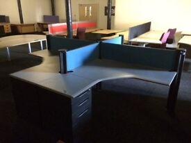 4 Grey L Shape Desks, Pedestals & Dividers