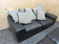 x2 Black Leather 3 Seater Sofas - Used Good Condition ONLY £75 !!!