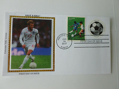 David Beckham Soccer Ball Cachet On Combo Stamp Fdc Sc#5205 Colorano Silk- (David Beckham Soccer Ball)