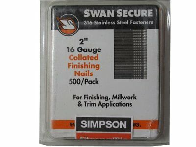 Simpson Swan Secure T16n200fnb 16-gauge Straight 316 Stainless Steel 2-inch Fini