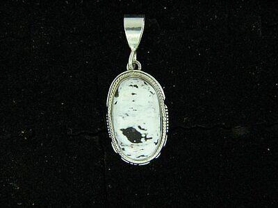White Buffalo from Tonopah NV Oval Sterling Pendant by Larson Lee (Nv Larson)