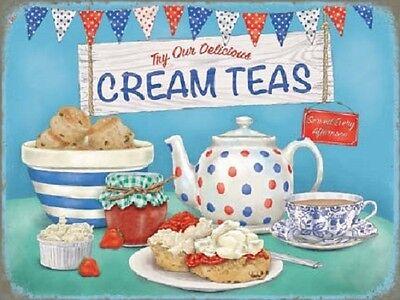 Homemade Crema Tés Alimentos Bebidas Café Tea Rooms Retro Cocina Metálico Sign