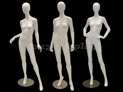 3 Pcs Group Female Fiberglass Egg Head Mannequins Display Md-a2-3-4w2-s Group