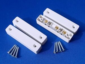 2 Sets - Burglar Alarm Door Contacts, White Surface Magnetic Contact Type