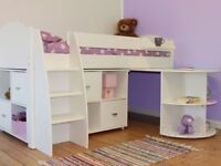 Stompa Mid Hight Bunk Bed With Desk And Cabinet