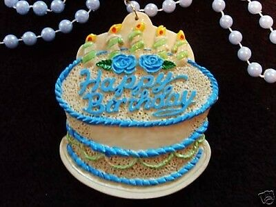 "BOYS ""BLUE BIRTHDAY CAKE"" PARTY MARDI GRAS NECKLACE BEAD CANDLES (B859)"