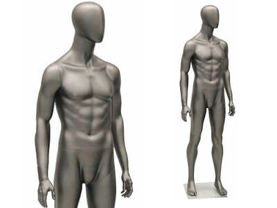 Male Full Body Mannequin - Egg Head - Matte Grey