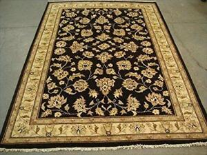 Excellent Black Chobi Zeigler Mahal Vege Dyed Area Rugs Hand Knotted Carpet (7.11 x 5.8)'